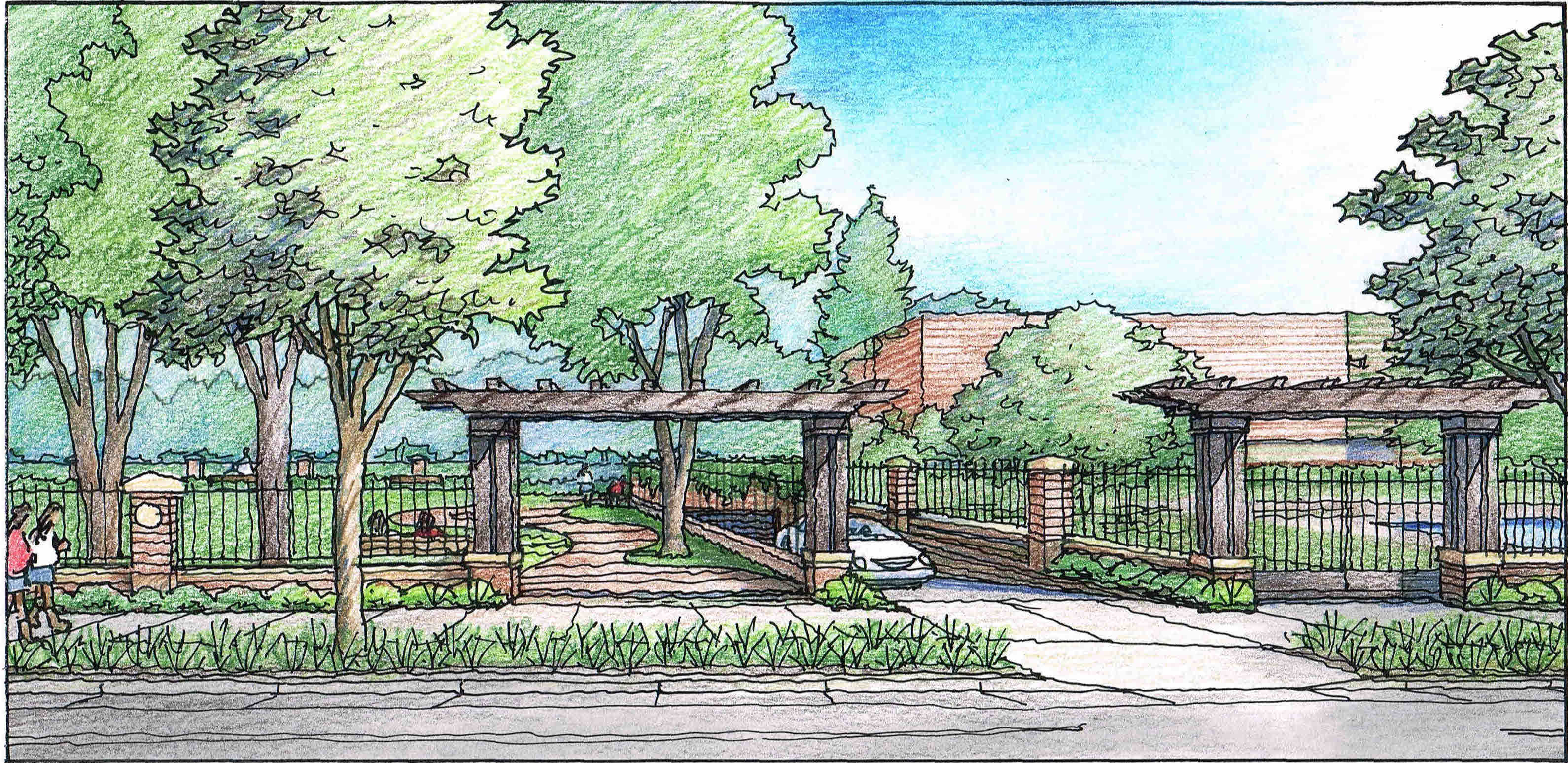 Rendering of proposed public park on campus