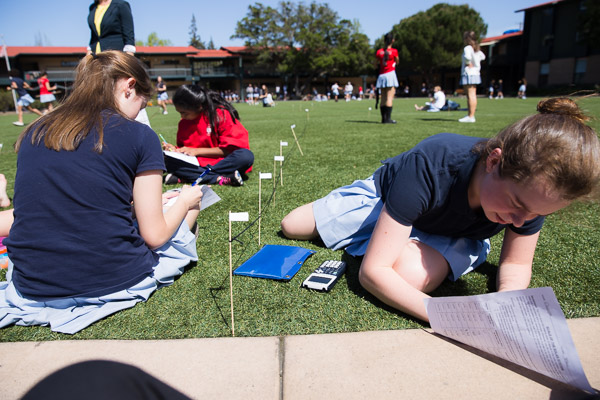 Math students tackle a hands-on problem as they analyze the geometry of the Circle central to Castilleja's campus.
